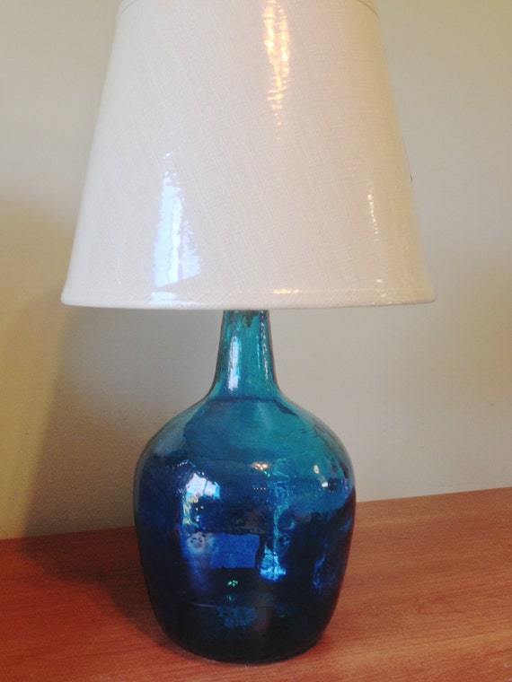 Cobalt Blue Glass Jug Table Lamp Light Small Table Lamp
