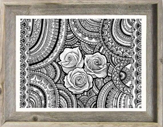Black White Original Drawing Roses Mandalas Zentangle Art