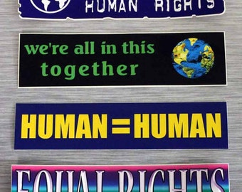 Human Rights Combo Pack Of 4 Small Bumper Stickers