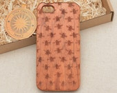 Nature / Insects Custom Design 'Flies'' Natural Cherry Wood Phone Case iPhone 5/5s, 5C, 6 6 plus 7 7 plus
