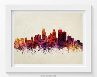 Minneapolis Poster, Minneapolis Skyline, Minneapolis Cityscape, Minneapolis Print, Minneapolis Decor, Home Decor, Gift Idea 09
