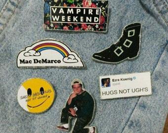 Mac Demarco, Vampire Weekend, Ezra Koenig, The Horrors, Smith Westerns (Pins) (PICK 1)