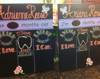 For twins, two Custom hand painted Reusable Baby's monthly milestone chalkboards