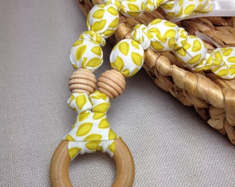 100% Organic Cotton Natural Teething Necklace with Wood Ring - Gold Leaves