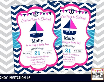 Nautical Party Invitation #1, Huge Selection, Easy Party Printables, Personalized, DIY, Printable,  Invitation,  5x7, Choose colors