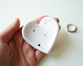Wedding Ring Plate, Ring Holder, Wedding Ring Pillow, Jewelry Holder, Heart Plate, Ceramics and Pottery
