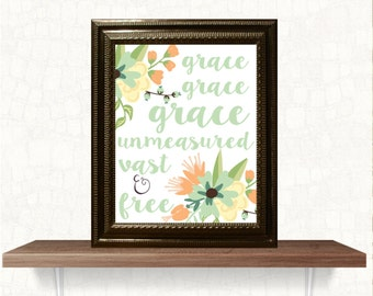 christian wall decor print grace floral INSTANT DOWNLOAD