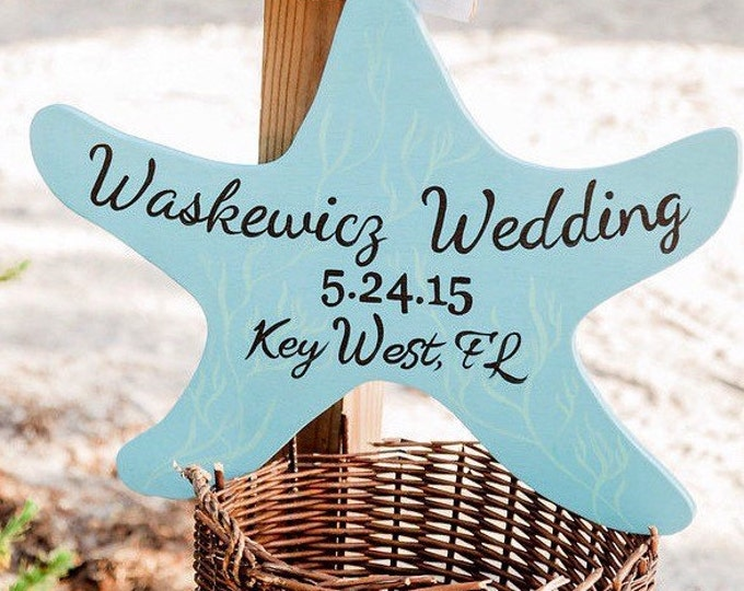 Starfish Ocean Blue Wedding Sign, Beach Nautical Wedding Decor, Starfish Wood Sign