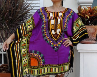New African Dashiki Dress poncho for her,blouse,Africa,women,Tunic, shirt,purple,  fits up to XL