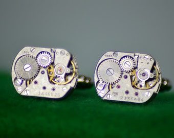 Classy steampunk Watch Movement Cufflinks