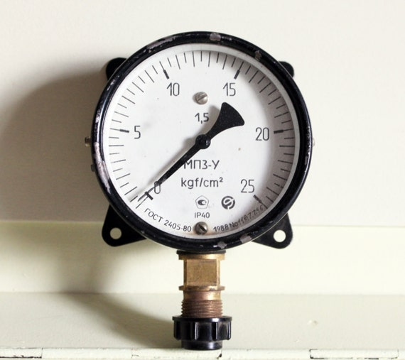 Steampunk decor vintage manometer pressure gauge by lisshop - Steampunk pressure gauge ...