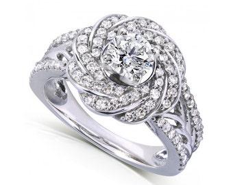 Round Cut Diamond Engagement Ring 1 Carat (ctw) in 14k White Gold