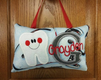 Boys tooth fairy pillow hockey theme, optional tooth chart