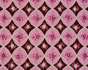 Jennifer Paganelli Sis Boom OOP Fabric for Free Spirit  -  Bell Bottom  -  Mary Trellis JP 10 in Pink/Brown  -  One Yard