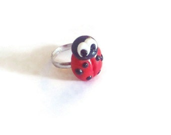 Adjustable Polymer Clay glazed ladybird ring unusual ring different ring fun ring statement ring red ring insect ring quirky ring bug ring