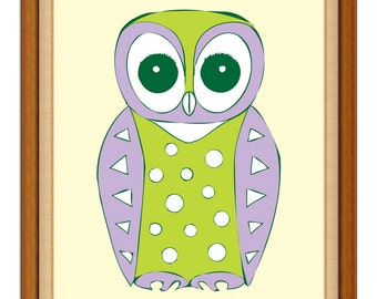 Green and Purple Owl Nursery Art Print / New baby / shower gift / cute