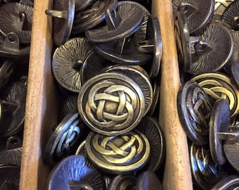 17 mm bronze celtic knot metal shank button, set of 10