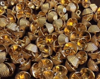 9 mm gold color metal shank button, set of 10