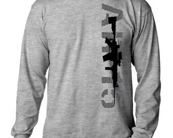 AR-15 Men's Long Sleeve T-shirt 2nd Amendment Gun Rights AR15 DesignTee Navy Blue