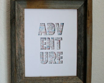 Adventure Map Print. Shadowbox. 3D. Wall Art. Home Decor.