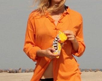 70's Perfect Orange Cotton Mandarin Toggle Closure Dress