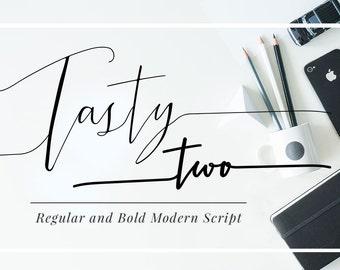 TastyTwo, Digital Font Download, Modern Script Typeface