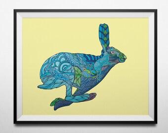 Don't Split Hares digital print from an original hand drawn illustration