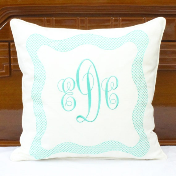 Personalized Embroidered Throw Pillows : Items similar to Monogrammed pillow, Personalized embroidered pillow cover, Linen decorative ...