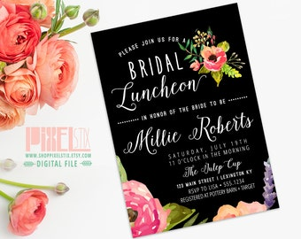 Trendy Watercolor Floral Bridal Luncheon Invitation - CUSTOMIZABLE PRINTABLE INVITATION - Modern Black with Watercolor Style Flowers