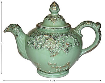 Hall China Regal Vintage Green with Gold Teapot