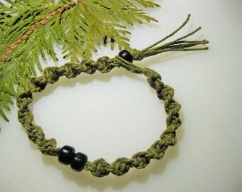 Hemp Necklace, Hemp Bracelet, Sage, Spiral Hemp Jewelry, Unisex Hemp Jewelry, Mens Hemp Necklace