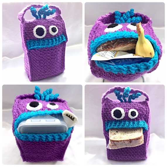 Lunch Monsters Lunch Bag Crochet PDF Pattern by HookedoPatterns