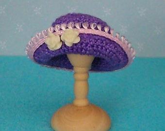 1/12th scale miniature crochet purple hat