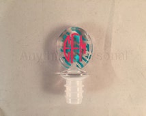 Personalized Gift, Houndstooth Stopper, Monogrammed Gift, Acrylic Wine Stopper, Monogrammed Wine, Wine Stopper, Wine Accessory, Hostess Gift