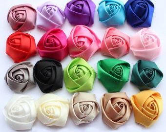 "2"" Satin Rosette Supply,Headband,Hair Clip Supplies,Wedding Flowers,Sewing Decorative Flowers"