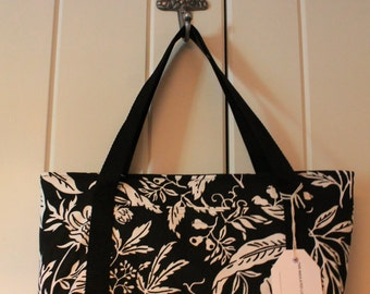 Black Print Insulated Lunch Tote
