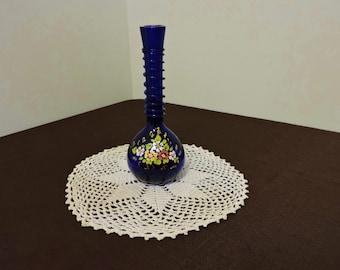 Vintage Hand Blown & Painted Cobalt Blue Bud Vase
