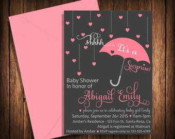 Surprise Baby Shower Invitation | Umbrella |Raindrops | Shower | Sprinkle | Hearts | Baby | Invite