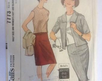 1960s Womens Jacket Blouse Skirt ensemble McCalls 7773 Vintage Sewing Pattern