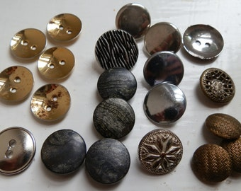 Lot of 21 Vintage and Antique Metal Buttons