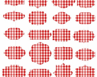 Red gingham labels clipart labels digital tags clipart gingham frames clipart PNG tags for weddings, save the date Invitations