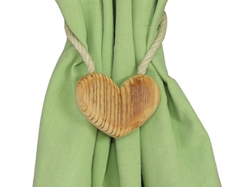 "Decorative magnetic front curtains tieback ""Rustic Heart"""
