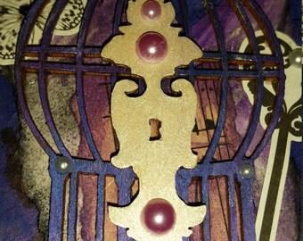 Lock Cage Trinket Circle Box Mixed Media