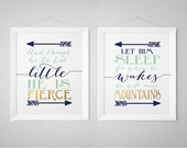 Let him sleep for when he wakes, And though she be but little, Boy nursery, Mountain nursery, Nursery Print Set, Navy Mint Gold (1002-2H)