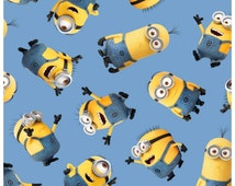 Despicable Me Minion Fabric - Minion Fabric Blue - 1 In A Minion Fabric -  Despicable Me Fabric By the Half Yard