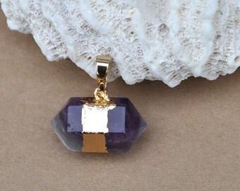 Amthyst Pendant ,Amethyst Pendant DIY Jewelry Gold Electroplate Gemstone Pendant