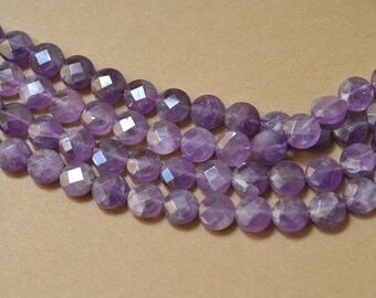 Amethyst Bead Faceted Coin 12mm Semiprecious Gemstone Bead Strand Wholesale Beads 15''L Jewelry Supply Wholesale Beads