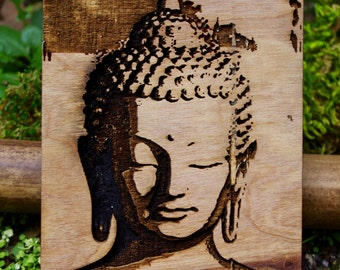 buddha 3d engraved wood art