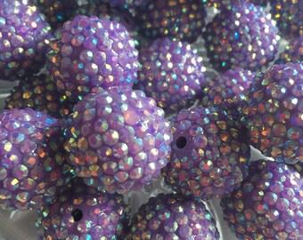 Purple 24mm Rhinestone Beads- 6pc Chunky Bubblegum Beads