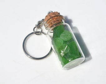 Genuine Green Sea Glass in a Glass Vial Key Chain